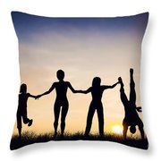 Happy Group Of People Friends Family Together Throw Pillow