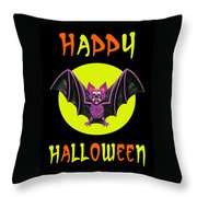 Happy Halloween Bat Throw Pillow