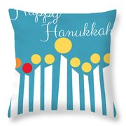 Happy Hanukkah Menorah Card Throw Pillow