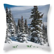 Happy Holidays - Winter Trees And Rising Clouds Throw Pillow