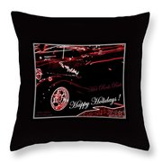 Happy Holidays Hot Rods Rule Throw Pillow