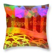 Happy Holidays - Christmas Packages - Holiday And Christmas Card Throw Pillow