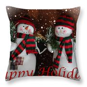 Happy Holidays - Christmas - Snowman Collection - Greeting Cards Throw Pillow