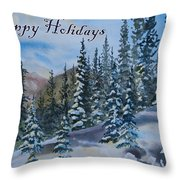 Happy Holidays Forest And Mountains Throw Pillow