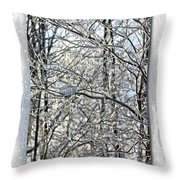 Happy Holidays Greeting - Icicles On Trees Throw Pillow