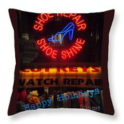 Happy Holidays - Neon Of New York - Shoe Repair - Holiday And Christmas Card Throw Pillow