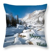 Happy Holidays Snowy Mountain Scene Throw Pillow