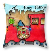 Happy Holidays Train Throw Pillow