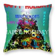Happy Holidays Word Splash A Throw Pillow