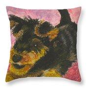 Happy Throw Pillow by Jeanne Fischer