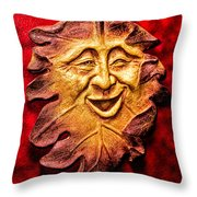Happy Leaf Throw Pillow