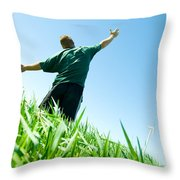 Happy Man On The Summer Field Throw Pillow