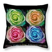 Happy Mothers Day Hugs Kisses And Colorful Rose Spirals Throw Pillow