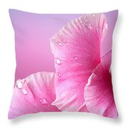 Happy Mother's Day Macro Pink Rose Petals Throw Pillow