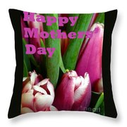 Happy Mothers' Day Tulip Bunch Throw Pillow