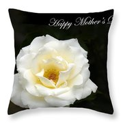 happy Mother's Day White Rose Throw Pillow