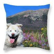 Happy Mountain Dog Throw Pillow