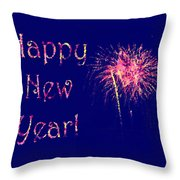 Happy New Year Fireworks Throw Pillow by Marianne Campolongo