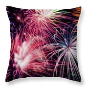 Happy New Year Fireworks Night Scene Throw Pillow