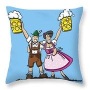 Happy Oktoberfest Couple Beer Throw Pillow