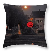 Happy Pumpkin At The Pond Throw Pillow