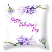Happy Purple Valentine Throw Pillow