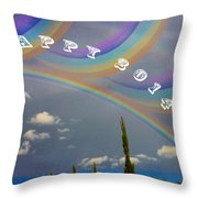 Happy Rainbows Throw Pillow