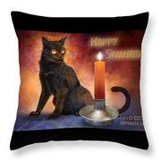 Happy Samhain Kitten And Candle Throw Pillow