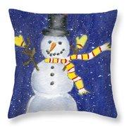 Happy Snow Throw Pillow