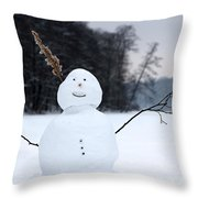 Happy Snowman Throw Pillow