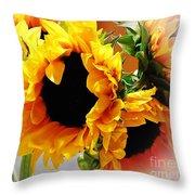 Happy Sunflowers Throw Pillow