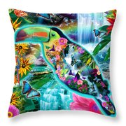 Happy Toucan Throw Pillow by Alixandra Mullins