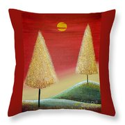Happy Trees With Red Sky Throw Pillow