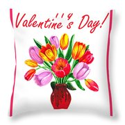 Happy Valentines Tulip Bouquet Throw Pillow