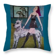 Happy Walk By Jasna Gopic Throw Pillow