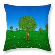 Happy Walking Tree Throw Pillow