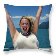 Happy Woman On Holiday  Throw Pillow