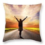 Happy Woman Standing On Long Road At Sunset Throw Pillow