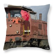 Happy Woman Standing On Train Throw Pillow