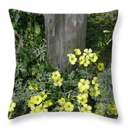 Happy Yellow Flowers Throw Pillow