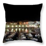 Harbor At Night Throw Pillow