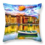 Harbor At Sunset Throw Pillow