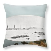 Harbor Entrance At Sakonnet Point In Little Compton Ri Throw Pillow