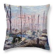 Harbor In Early Morning Throw Pillow