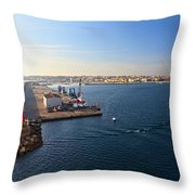 harbor in Porto Torres Throw Pillow