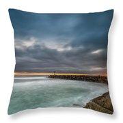 Harbor Jetty Sunset Throw Pillow