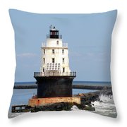 Harbor Of Refuge Light  And Breakwater Throw Pillow