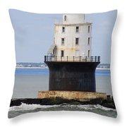 Harbor Of Refuge Light  Throw Pillow