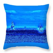 Harbor Of Refuge Lighthouse And Sailboat Abstract Throw Pillow