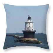 Harbor Of Refuge Lighthouse Throw Pillow